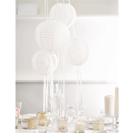 White Paper Lanterns with Ribbons, Hanging Wedding/Party Decoration - pack of 3